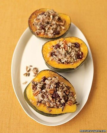 """Wild-rice stuffed squash from Everyday Food Magazine - Eat Your Books is an indexing website that helps you find & organize your recipes. Click the """"View Complete Recipe"""" link for the original recipe."""