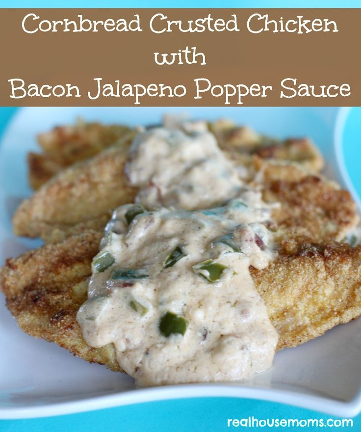 Cornbread Crusted Chicken with Bacon Jalapeno Popper Sauce combines some favorite ingredients to create an incredibly delicious meal. I removed the seeds from the jalapenos, so it was kid friendly too!