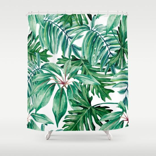 A tropical rainforest jungle design of palm leaves and monstera in rich green tones. Tropical, botanical, Summer, modern and trendy.