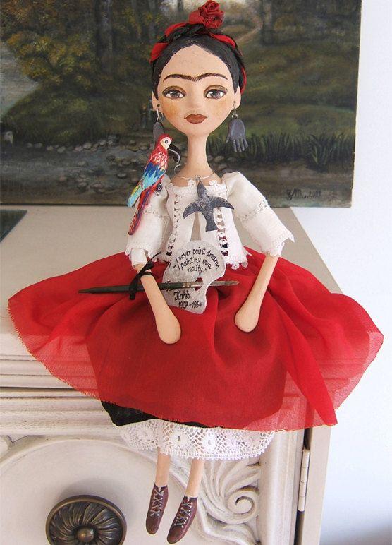 Hecho a mano de Frida Kahlo Art muñecas de papel maché