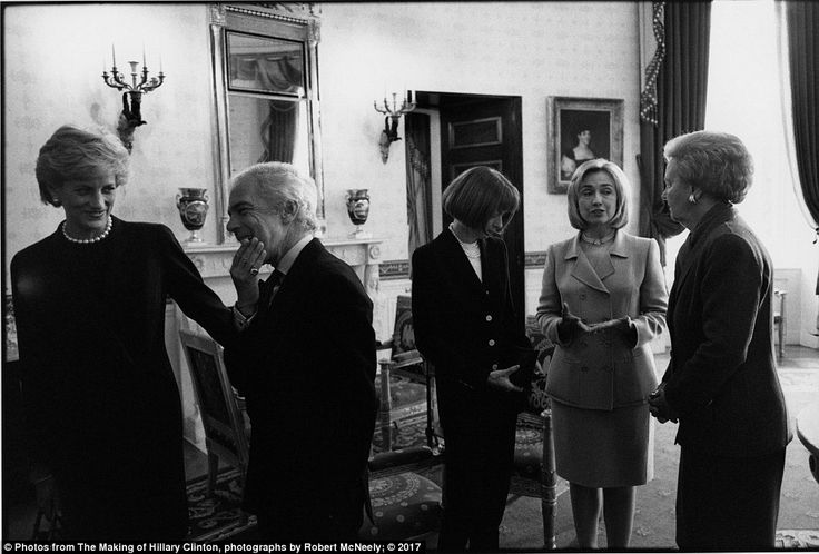 The same enjoyment can be seen in a 1996 photo in which she is surrounded by Diana, Princess of Wales (far left); Anna Wintour,(center) editor of Vogue; and Katharine Graham (far right); owner of the Washington Post, at a breast cancer awareness event in the White House. Ralph Lauren (center left) is also in the frame, and McNeely described Clinton as 'in her element'