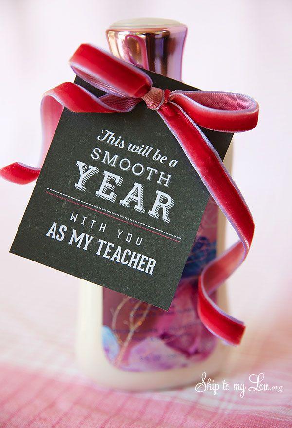 Back to school teacher gift idea: free printable tag to pair with lotion #print #backtoschool #teacher skiptomylou.org