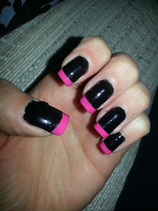Black Nails With Pink Tips Black Nails Nails Nail Tips