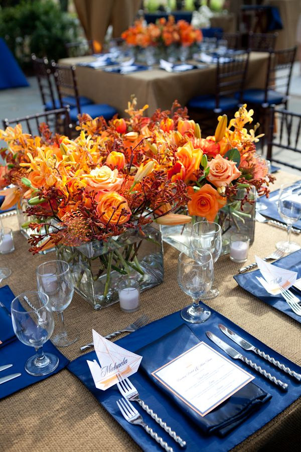 100+ ideas to try about blue & orange wedding | Orange flowers ...
