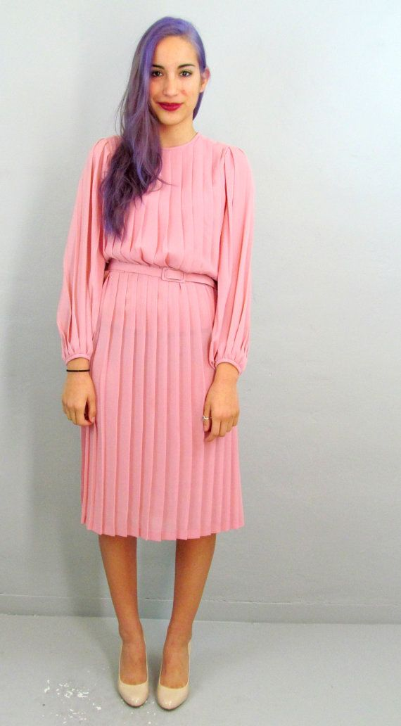 80's SECRETARY Dress Pink Dress Pleated Dress Sexy Dress PInk 80s Dress Medium Sexy Dress Poet Sleeve Dress 70s Dress 70s Secretary Dress