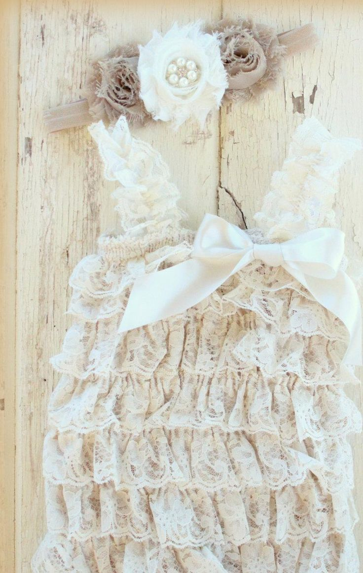 Ivory Lace Romper and Headband - Newborn Lace Romper - Beige Romper - Champagne Romper - Photo Props, Baby Girl Romper Photo Set - http://www.babies-clothes.info/ivory-lace-romper-and-headband-newborn-lace-romper-beige-romper-champagne-romper-photo-props-baby-girl-romper-photo-set.html