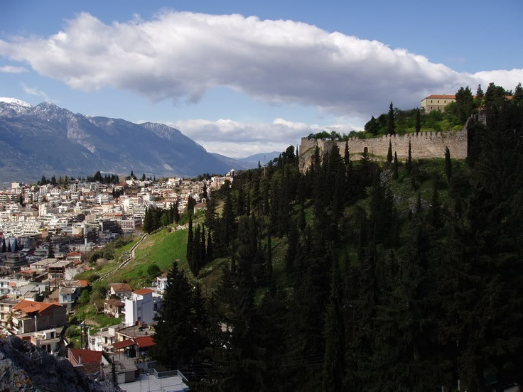 Lamia, Greece, the castle on the hilltop, Mt. Oiti to the southwest of the city. Mt. Oiti is where Heracles went to die.  Thermopylae lies in the narrow space between it and Mt. Kallidromo.