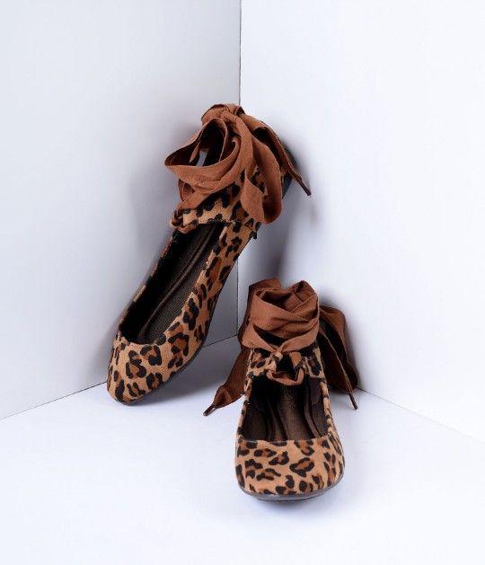 Leopard Print Faux Suede Ballet Ribbon Flats