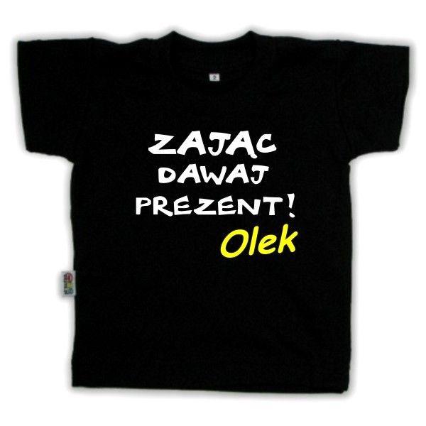Koszulka dziecięca - zając dawaj prezent! z FamilyInBlack.pl