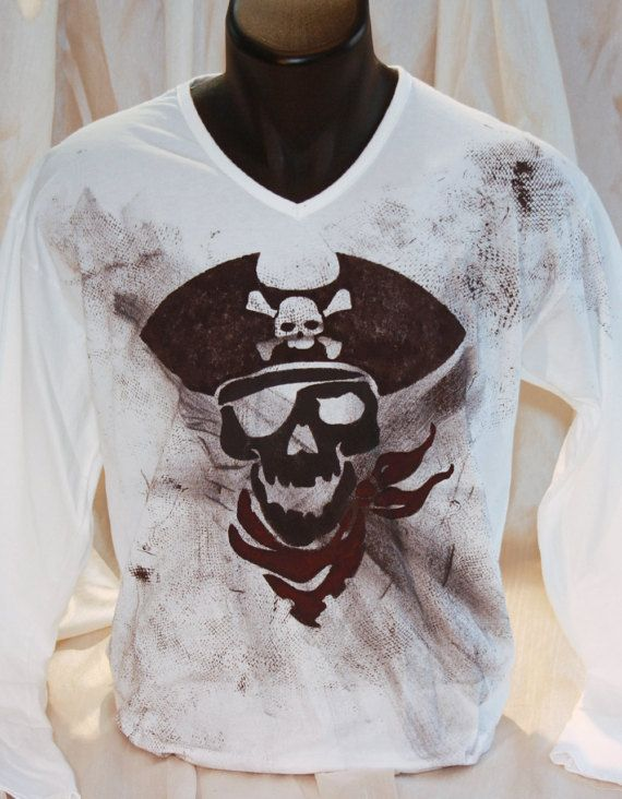 Hand painted 100% cotton jersey long-sleeved Pirate Skull t shirt. One-of-a-kind unique gift, fully customizable.