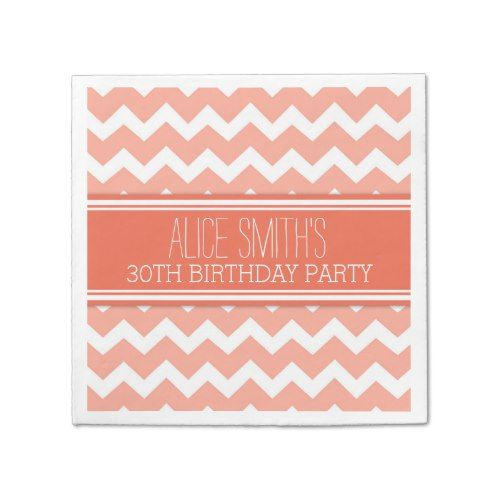 Monogram 30th Birthday Napkin Coral Chevron