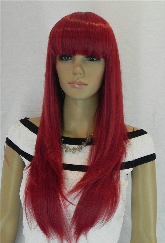 Synthetic Wigs Women's red straight mid long straight bang
