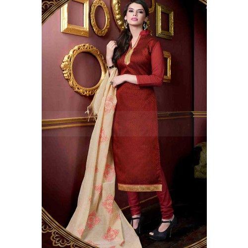 MAROON JACQUARD CHURIDAR SUIT Price - £25.00 #OnlineDresses  #FashionUK #DesignerSuit #IndianSuitOnline #ShopkundUK