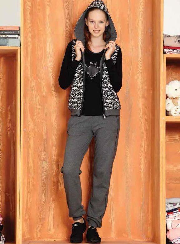 Yarasa Desenli #Kapşonlu 3'lü Bayan #Eşofman Takım 2454   Tuğse #BayanEşofman 2014/15 Sonbahar Kış Koleksiyonu http://www.camasirim.com/c/esofman-162