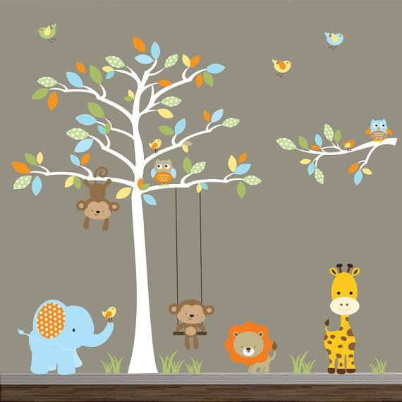 Jungle Wall Decal with Tree, Animals,Swing,Branch-Nursery Vinyl Wall Decals on Etsy, $159.00