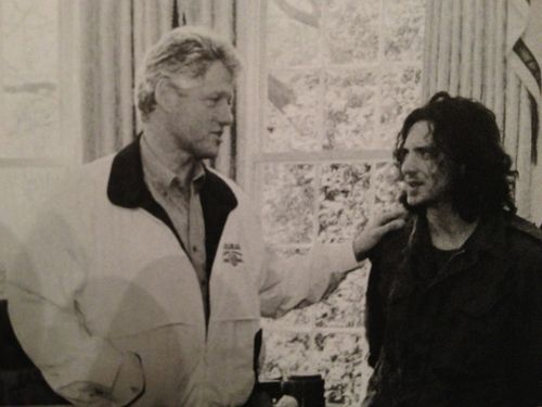 hammysammy:  President Bill Clinton with Pearl Jam lead singer Eddie Vedder the day after news of Kurt Cobain's suicide broke, 1994