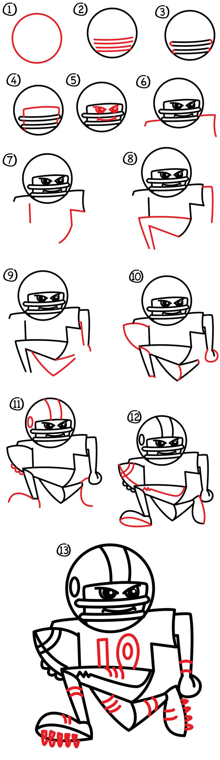 how to draw a football player art for kids hub