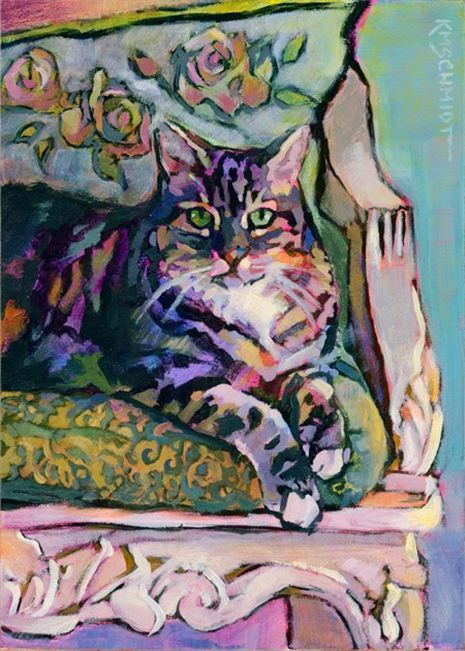 Louisiana Edgewood Art - PR161 Rose Queen tabby cat art