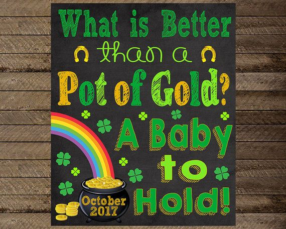 St. Patrick's Day Pregnancy Announcement St by InJOYPrints on Etsy, St. Patrick's Day Pregnancy Announcement, St Patrick's Day pregnancy chalkboard, pot of gold, rainbow, pregnancy announcement sign, reveal, rainbow baby, st patricks day baby, pregnancy reveal, pregnancy chalkboard, new baby, maternity photo prop, march 17th, pregnancy sign, baby sign, pregnancy announcement chalkboard sign, mom to be