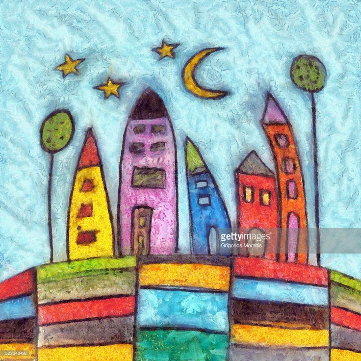 Colorful, joyful, childish style cityscape composition. Detailed oil on canvas texture digital painting.