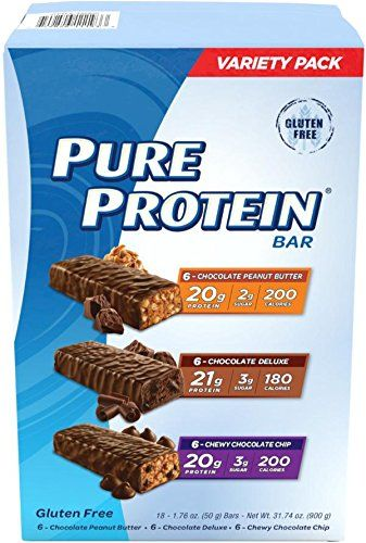 Pure Protein Bar Variety Pack (6 Chocolate Peanut Butter, 6 Chewy Chocolate Chip, 6 Chocolate Deluxe), (18 Count of 1.76...