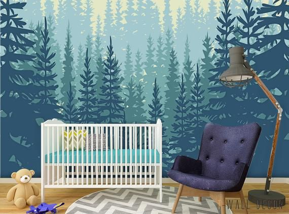 Self Adhesive Forest Wall Mural Peel Stick Nursery Wallpaper Big Trees Removable Wall Art Nursery Wall Murals Kids Bedroom Wall Decals Nursery Wall Decals