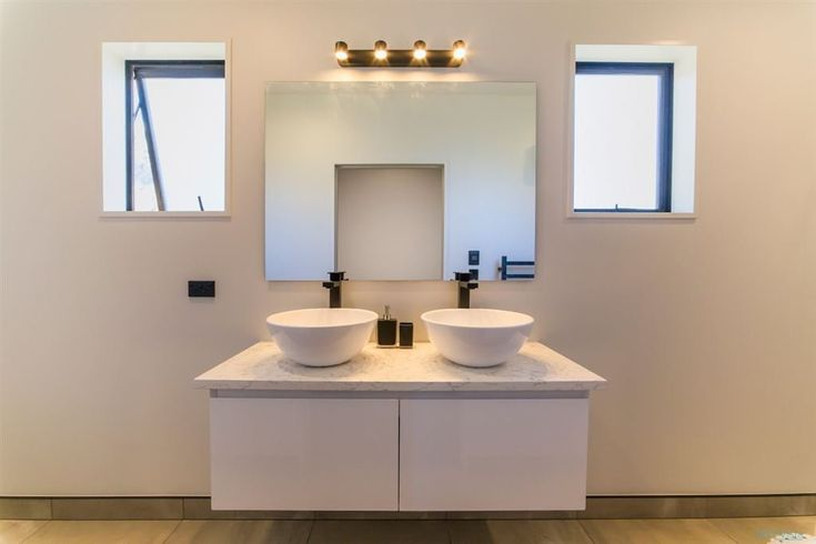 Falconer Rise, Jacks Point - Deavoll Construction | Queenstown Builders,  interior, design, architecture, basin round, bathroom, double vanity