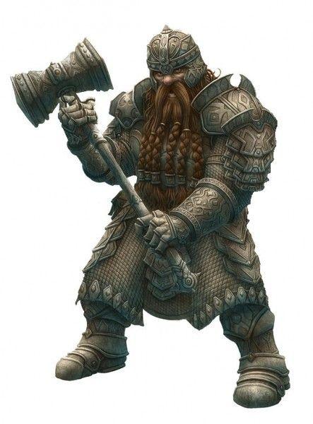 Dwarven Fighter wielding a two handed warhammer - artist unknown (Kenrick son of Rasund)