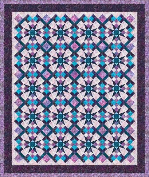 """Celestial Magic"" quilt designed by Jan Douglas Designs. Features Artisan Batiks: Serendipity. Hyacinth colorstory."