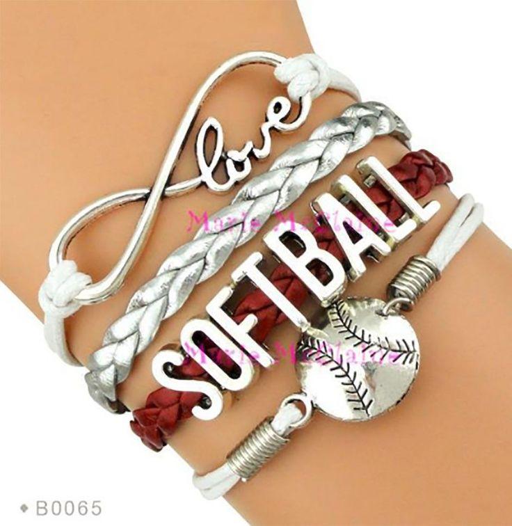 Softball Bracelet - Maroon/Silver