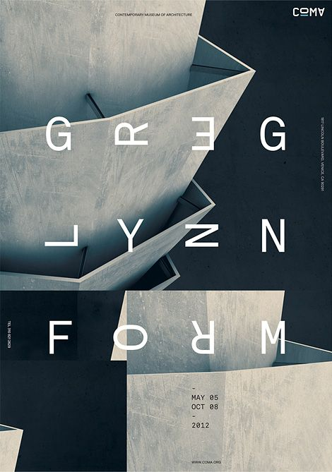 Greg Lynn Form exhibition poster, designed by Jeff Han for COMA, Contemporary Museum of Architecture.