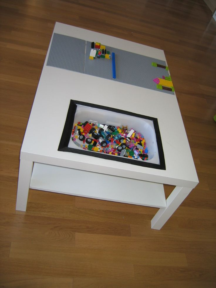 Nog een ikea hack great place to store little things for Table lego ikea