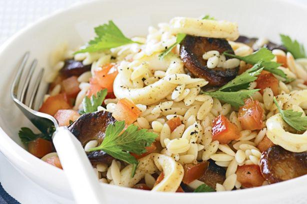 Chorizo and calamari pasta salad