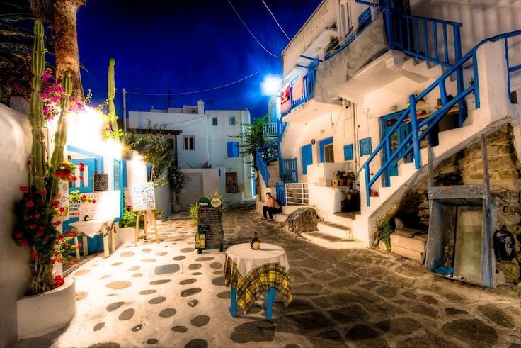 Alleys of Mykonos Town, Greece.
