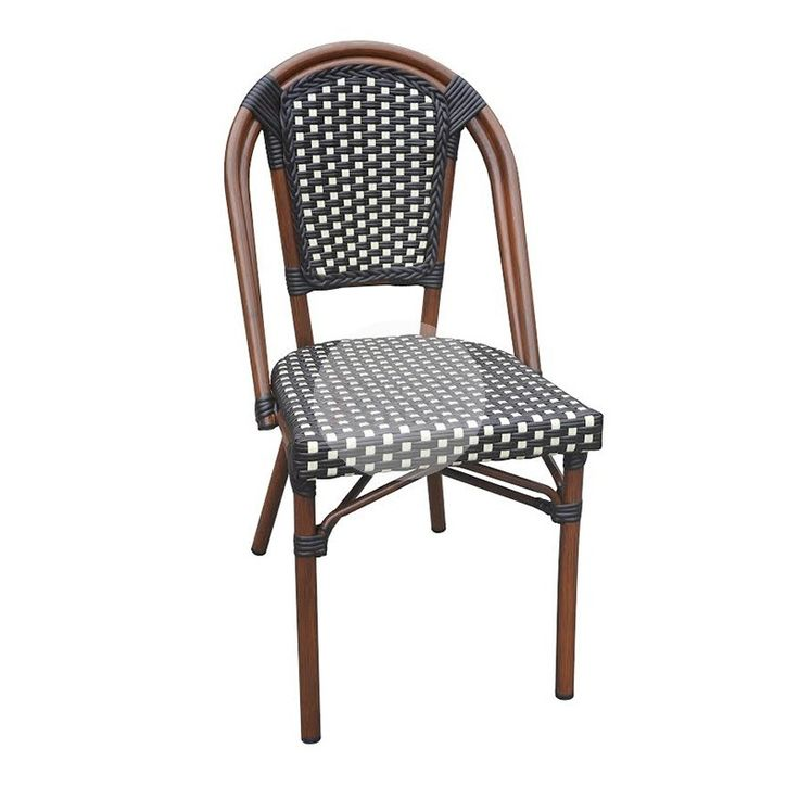 This classical Parisian Cafe Chair or Bistro Chair is ideal to transform any setting into a European summer holiday. Recognizable in many Italian restaurants and is suitable for indoor and outdoor use. This chair features a strong Aluminium construction with Faux Rattan weave making them lightweight, durable and more importantly these chairs can stack by up to 7 seats high.