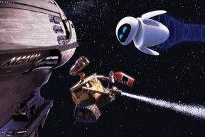 WALL·E, Pixar Animation Studios, Movies, Stars, Spaceship, Robot Wallpaper