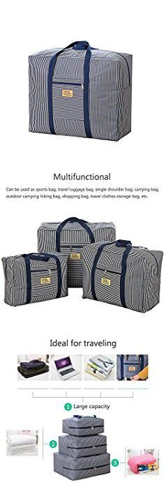 Storage Tote Sale. HaloVa Duffel Bag, Waterproof Oxford Travel Luggage Bag, Foldable Carry On Clothes Storage Bag Duffle Organizer, Large Capacity, Blue Stripe, Large.  #storage #tote #sale #storagetote #totesale