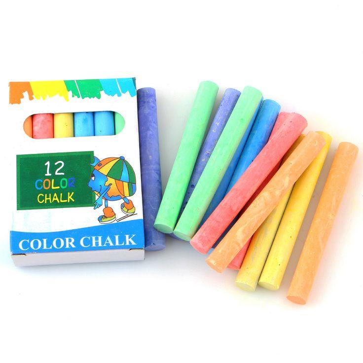 6 color 12 plumas/caja sin polvo de Tiza Pluma Accesorios Tizas Tizas Para Material Escolar Oficina Papelería Pizarra de Dibujo Escolar