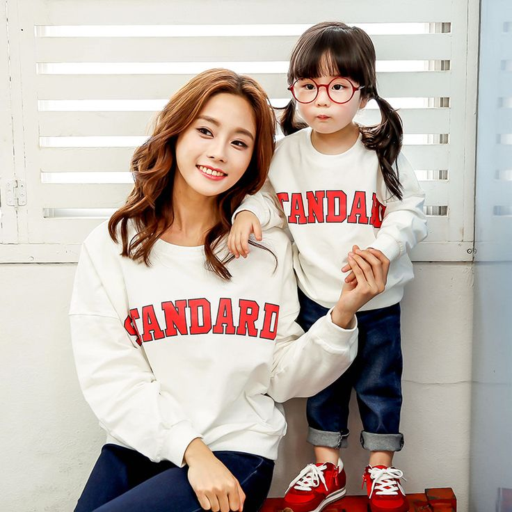 Family Matching Clothes 2016 Autumn Winter Warm Letter Hoodies For Mother and Daughter Mon and Me Family Look Outfits Clothing