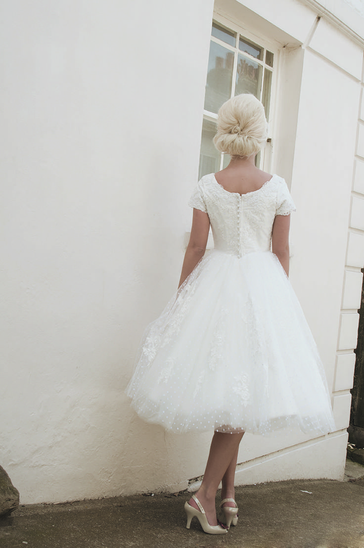 back view of Audrey - Beautiful Swiss dot tulle and lace dress by House of Mooshki