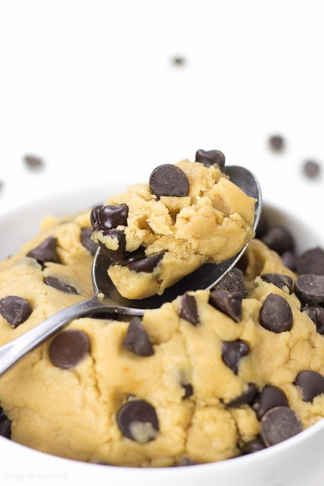 Healthy Cookie Dough packed with all the delicious flavor minus the worrisome eggs. Eating a spoonful of this cookie dough just got a little guilt-less.
