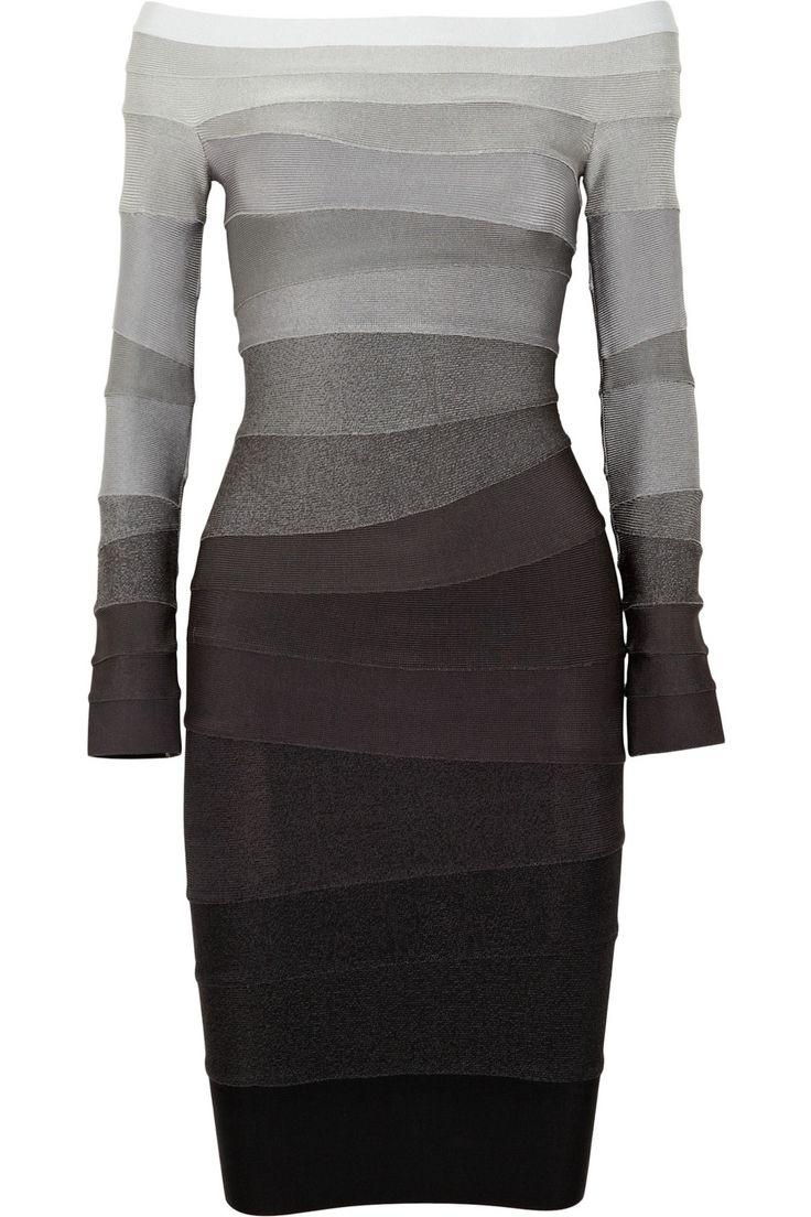 HERVÉ LÉGER  Ombré off-the-shoulder bandage dress