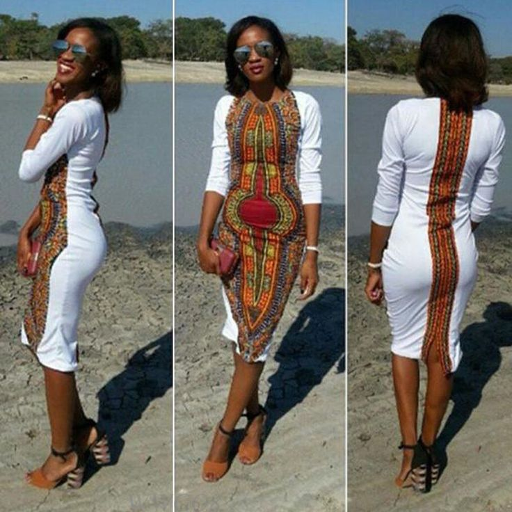 Fashion Women Summer Casual Deep O-Neck Traditional African Print Party Dresses