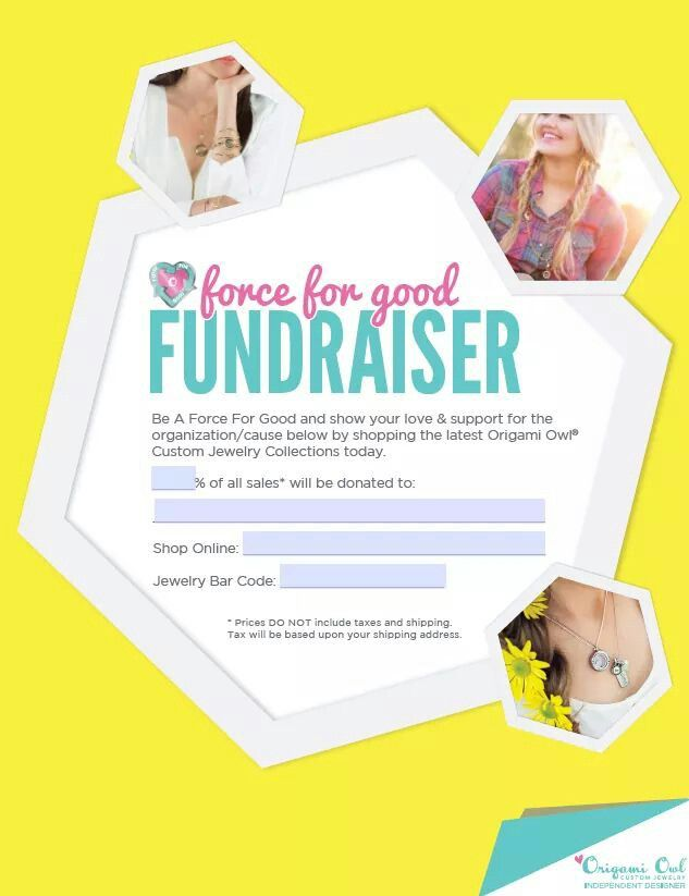Looking for a way to make money for your organization. How about running a Force for good fundraiser with customizable Origami Owl jewelry. Contact me for more info at JLouSellsO2@gmail.com. To see what Origami Owl has to offer, click on the picture.