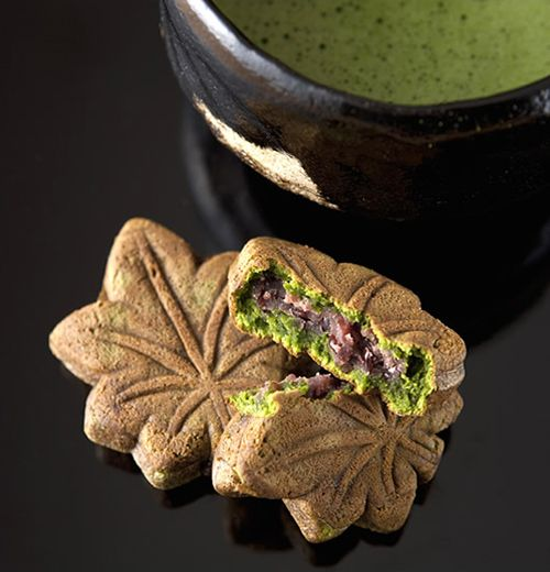 Japanese matcha tea & maple leaf wagashi. These are beautiful!