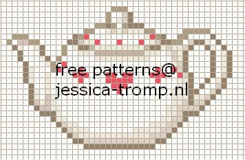 Free cross stitch patterns - teapots, coffee, cups, etc
