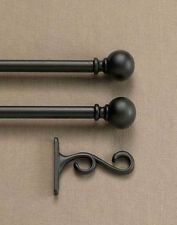 "Decorative Double Bracket Black Window Curtain Rod set 90"" - 130"""