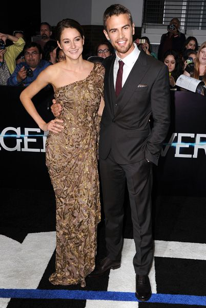 """Shailene Woodley and Thoe James on the red carpet at the """"Divergent"""" premiere in Los Angeles on March 18, 2014."""