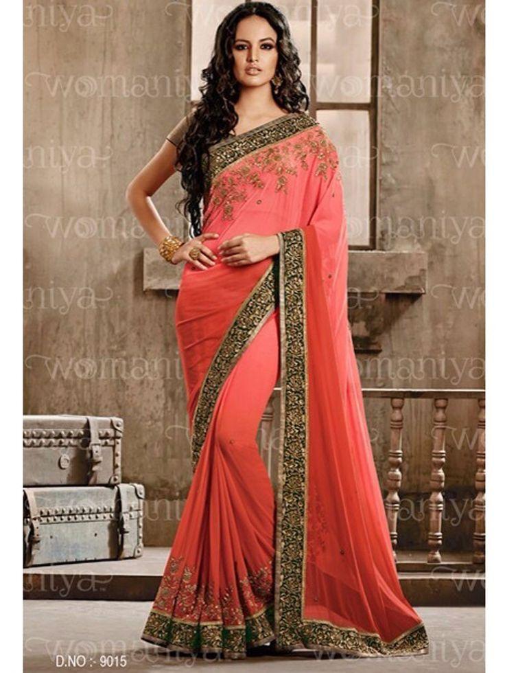 Dark Peach Color Embroidered Womaniya Saree