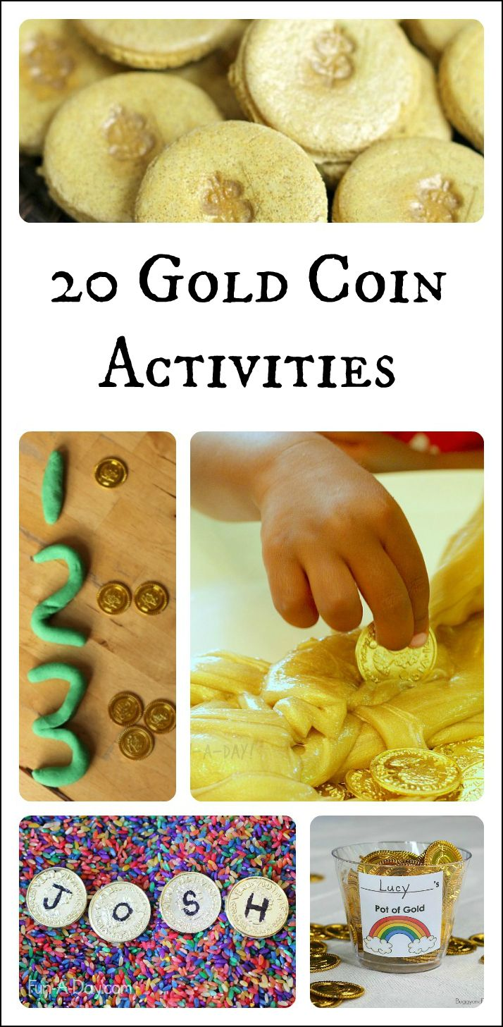 20 creative activities for kids using gold coins - great ideas for St. Patrick's Day, a pirate theme, or just because! Sensory play, math, literacy, and more!
